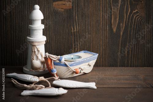 Nautical decorative sail boat, lighthouse