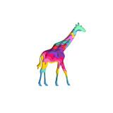 Paper cut giraffe, safari animals shape 3D origami. Trendy concept fashion design. Vector ilusstration