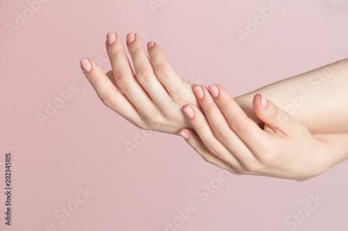 Plexiglas Manicure Woman fingers with beautiful nails