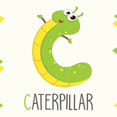 Illustrated Alphabet Letter C And Caterpillar