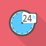 Clock icon. Flat illustration of clock vector icon for web