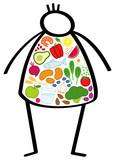 Einfaches Strichmännchen, übergewichtiger Mann, Körper gefüllt mit gesunden Lebensmitteln, Gemüse und Obst. Konzeptionelle Grafik für eine Diät, gesunde und ausgewogene Ernährung - 202357509