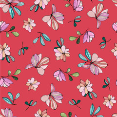 Seamless floral pattern. Vintage pattern with cute simple flowers for textiles, packaging, Wallpaper, covers. © natalyadyachkova