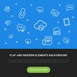 cloud and networking, chat and messenger, email outline vector icons and elements background concept on blue background.Multipurpose use on websites, presentations, brochures and more