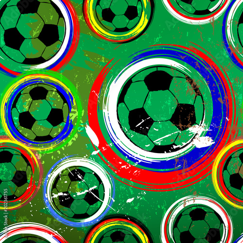 Aluminium Abstract met Penseelstreken football/ soccer ball seamless background,international tournament this year, vector