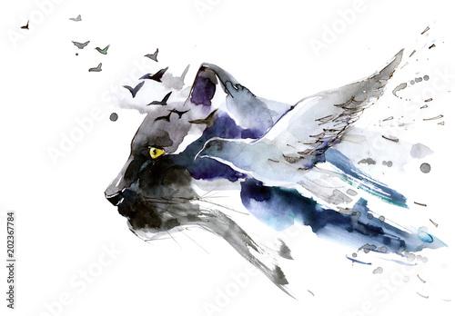 predator and bird © okalinichenko