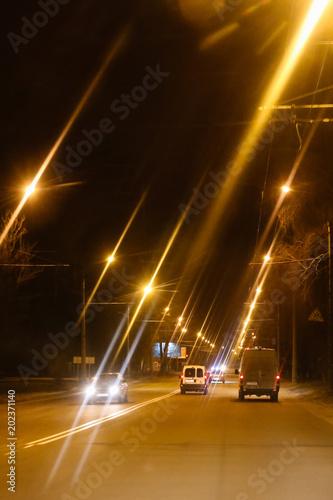 Plexiglas Nacht snelweg Night street s in the city