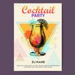 Cocktail tequila sunrise on artistic polygon watercolor background. Cocktail disco party poster