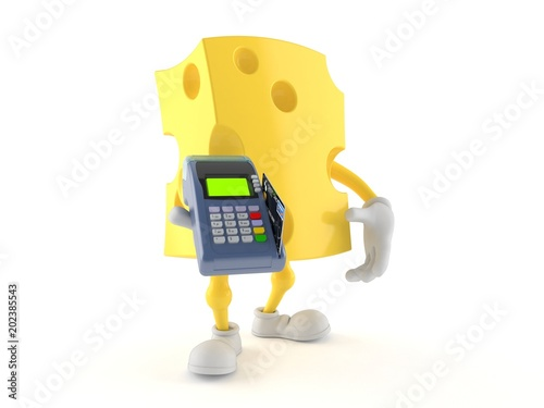 Fototapeta Cheese character holding credit card reader