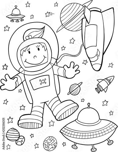 Plexiglas Cartoon draw Cute Astronaut Spaceshuttle Vector Illustration Art