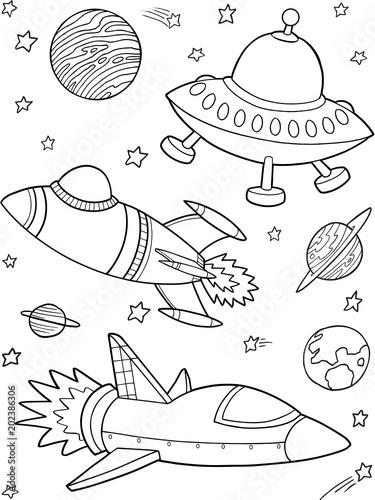 Plexiglas Cartoon draw Rockets Spaceships Outer Space Vector Illustration Art