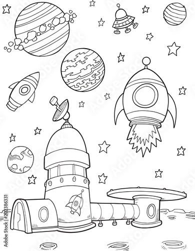 Foto Spatwand Cartoon draw Moonbase Outer Space Rockets Illustration Art