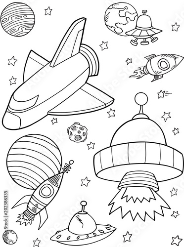 Plexiglas Cartoon draw Cute Rocket shuttle Outer Space Vector Illustration art