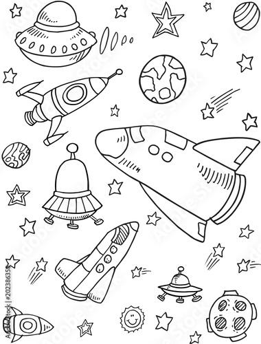 Plexiglas Cartoon draw Cute Rockets Outer Space Vector Illustration Art