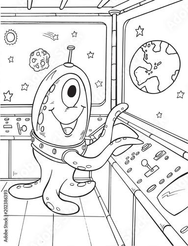 Plexiglas Cartoon draw Alien Outer Space Vector Illustration Art