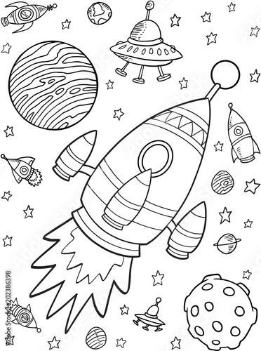 Plexiglas Cartoon draw Outer Space Rocket Planets Vector Illustration Set