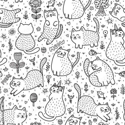 obraz lub plakat Cute cats in the summer seamless pattern. Black and white doodle background. Great for coloring book. Vector illustration