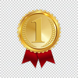 Champion Art Golden Medal with Red Ribbon l Icon Sign First Place Isolated on Transparent Background. Vector Illustration - 202392336