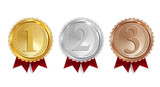 Champion Gold, Silver and Bronze Medal with Red Ribbon Icon Sign First, Secondand Third Place Collection Set Isolated on White Background. Vector Illustration - 202392513