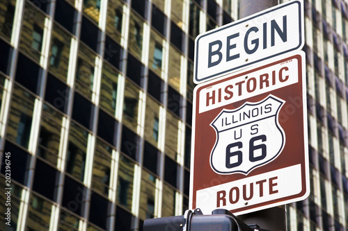 Fotobehang Chicago Begin of Route 66 in Chicago