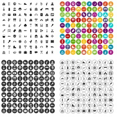 100 holidays family icons set vector in 4 variant for any web design isolated on white