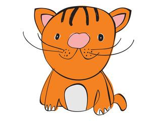 Vector cartoon animal. Sweet little tiger cat.