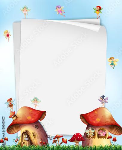 Fototapeta Mushroom House with Fairies Template