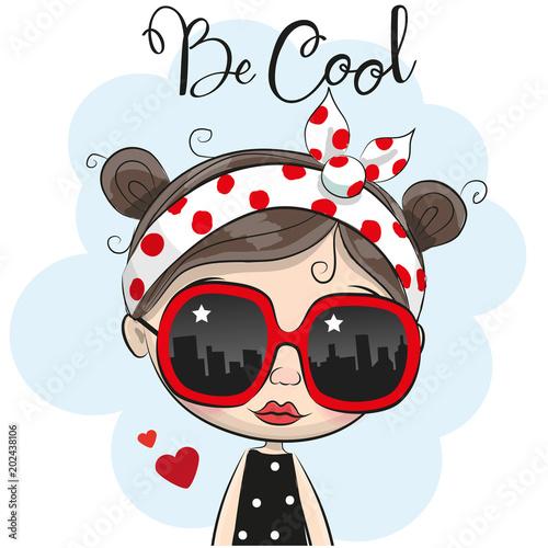 Cartoon Girl with sun glasses