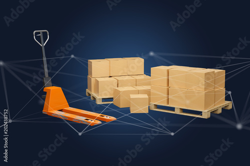 Pallet truck and carboxes with network connection system - 3d render
