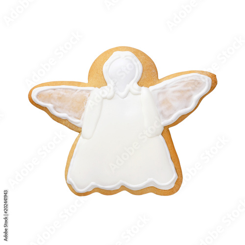 white angel gingerbread isolated on white background
