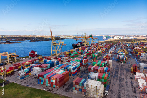 industrial port with containers aerial view