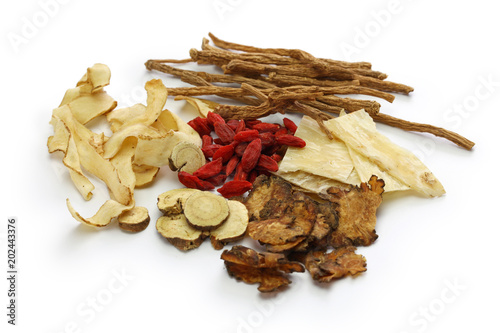 malaysia bak kut teh ingredients, traditional chinese herbal medicine isolated on white background