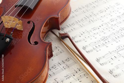 Fototapeta 楽譜とヴァイオリン