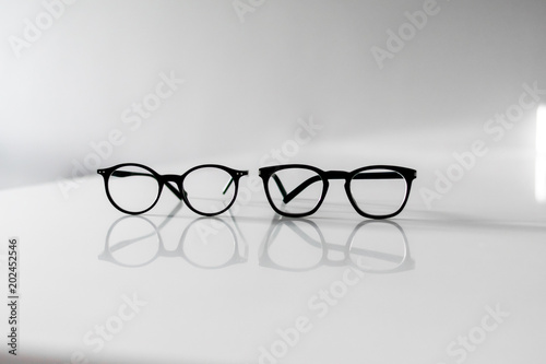 Glasses, isolated on white background. Silhouettes. Various shapes. Clipping path