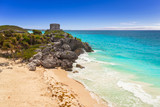 Caribbean beach at the cliff in Tulum, Mexico - 202456711