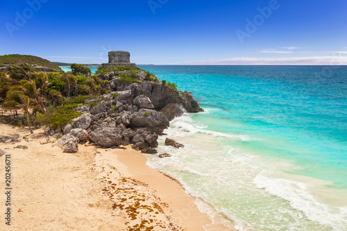Caribbean beach at the cliff in Tulum, Mexico