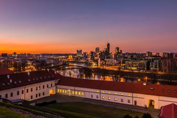 Aerial night panorama of Vilnius, capital city of Lithuania.