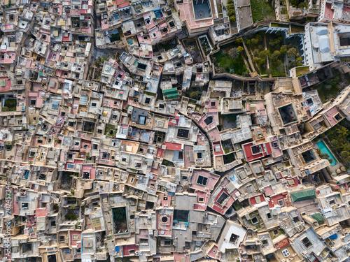 Plexiglas Marokko Aerial top view of Medina in Fes, Morocco