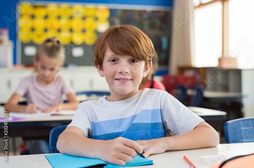 Happy boy at elementary school