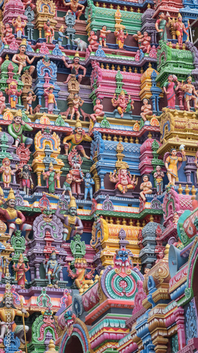 Detail from a Gopuram, or entrance tower, at an ancient Hindu temple in Tamil Nadu. It was only during the last century that temple authorities began to paint the gateway carvings