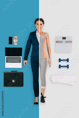 Fototapeta young woman in two occupations of businesswoman and sportswoman on different backgrounds