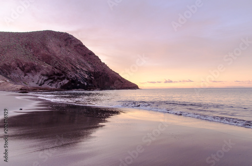 Aluminium Purper Sunset on the Atlantic Ocean