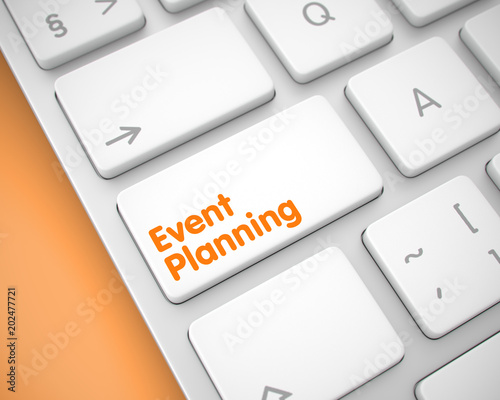Event Planning on the White Keyboard Keypad. 3D.