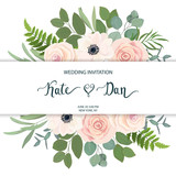 Floral frame with anemone, rose and eucalyptus. For wedding, Valentine's day, Birthday. Vector illustration. Watercolor style - 202478395