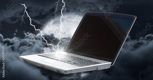 Laptop struck with lightning power