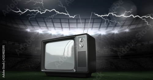 Lightning strikes and old television in stadium