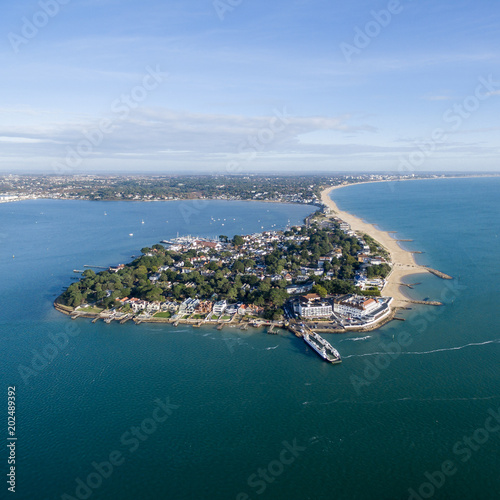 Sandbanks peninsular from the air on a blue sunny day