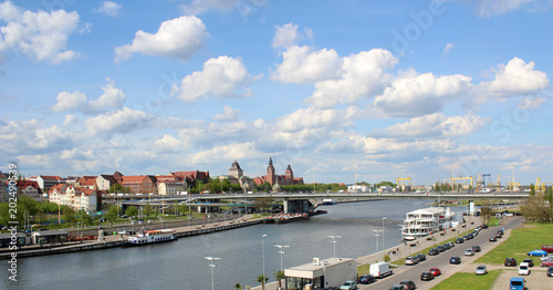 A view of the Szczecin city in western Poland in summer time with Odra River and the bridge.