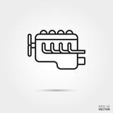 car engine vector line icon. Automotive parts, repair and service symbol.  - 202493553