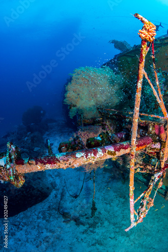 Plexiglas Schipbreuk A underwater shipwreck on a tropical coral reef